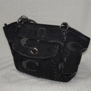 Coach black sateen Leah